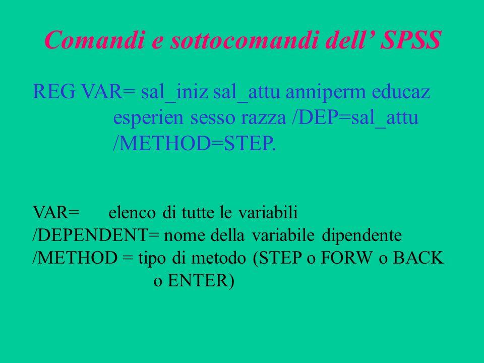 Comandi e sottocomandi dell' SPSS