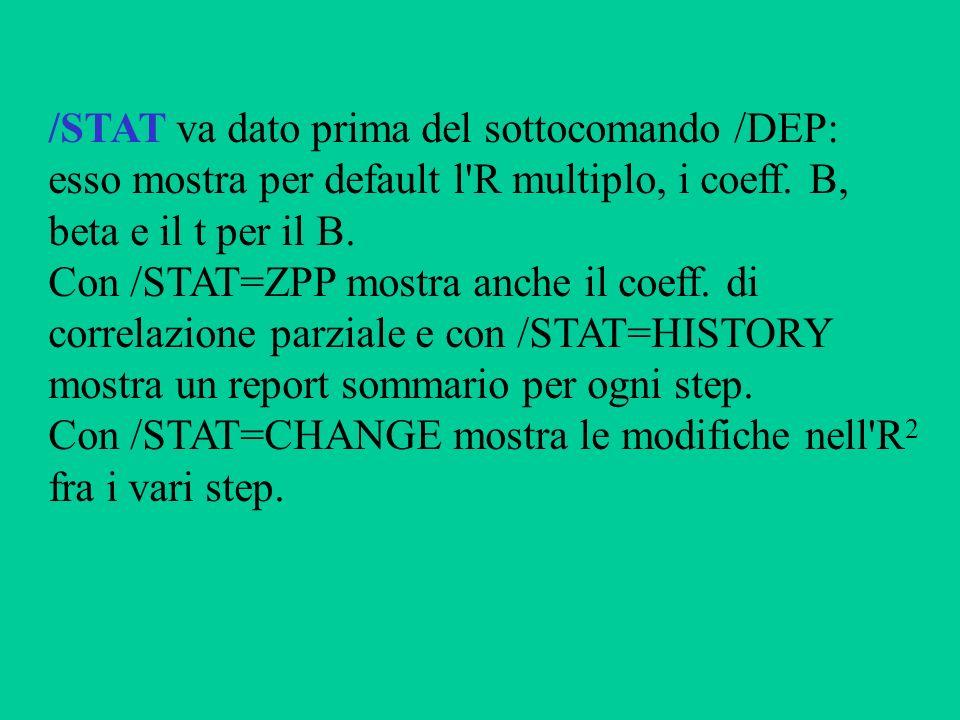 /STAT va dato prima del sottocomando /DEP: