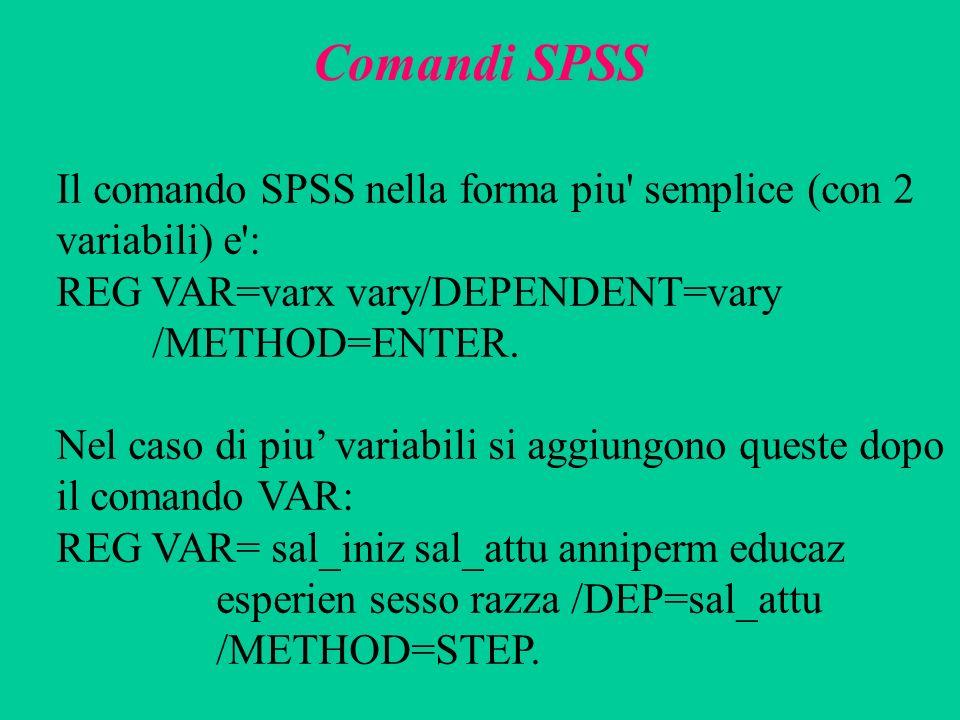Comandi SPSS Il comando SPSS nella forma piu semplice (con 2