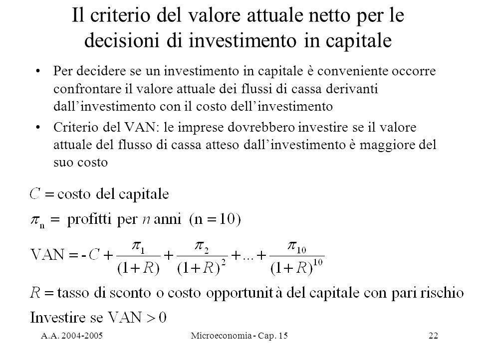 Il criterio del valore attuale netto per le decisioni di investimento in capitale