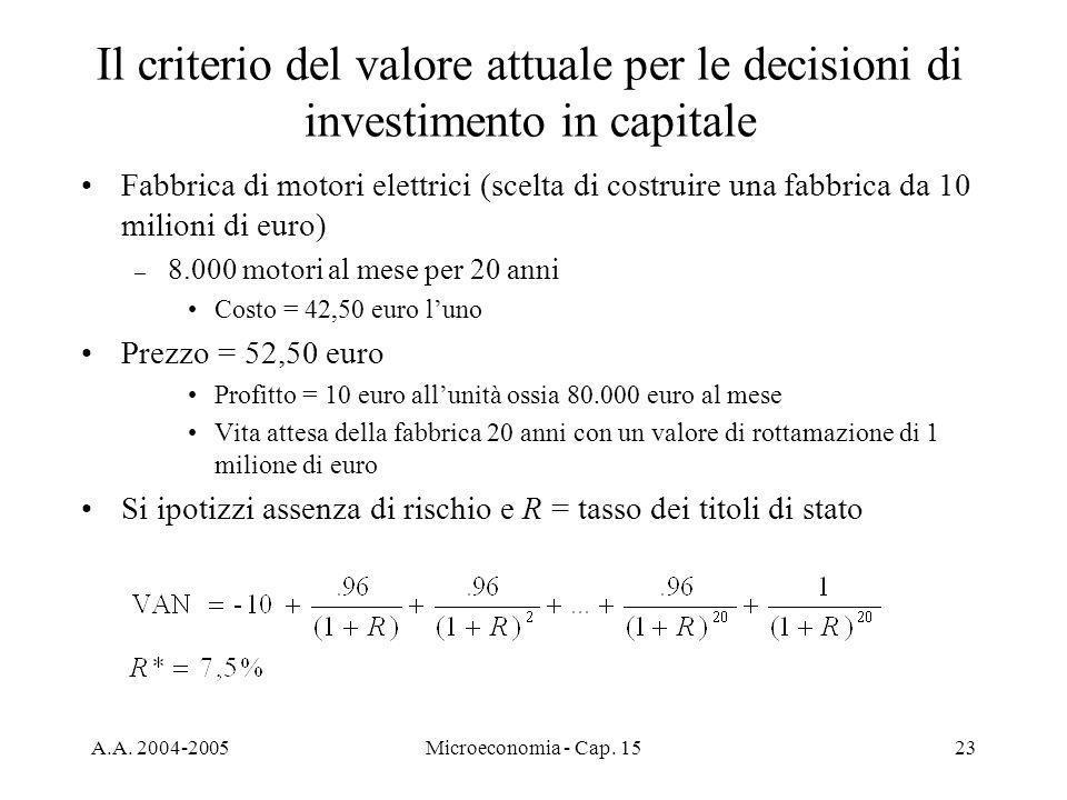 Il criterio del valore attuale per le decisioni di investimento in capitale