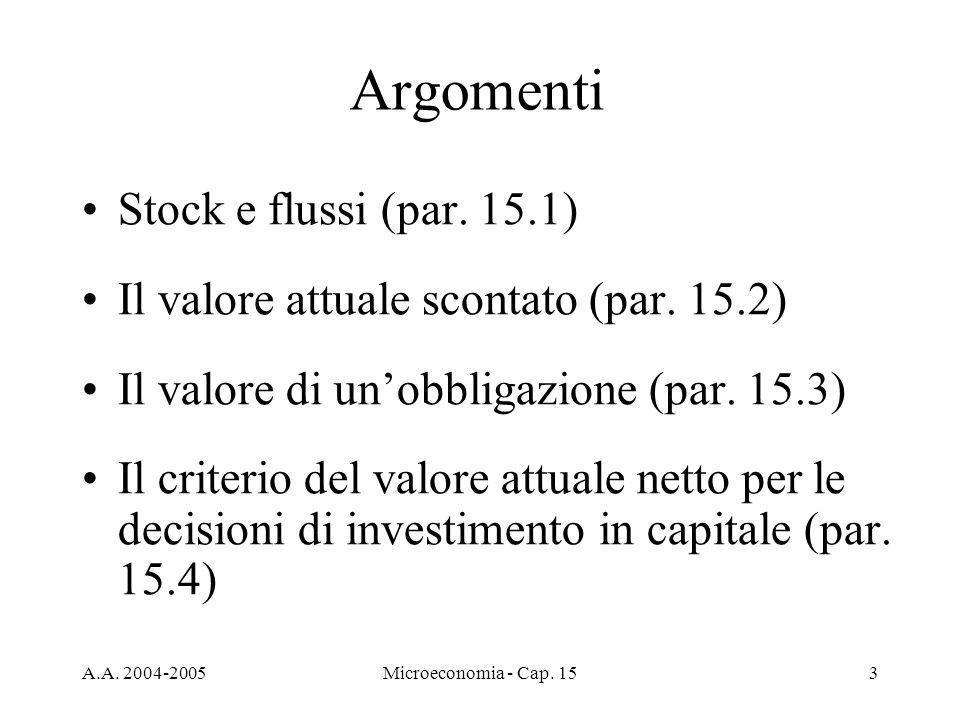 Argomenti Stock e flussi (par. 15.1)