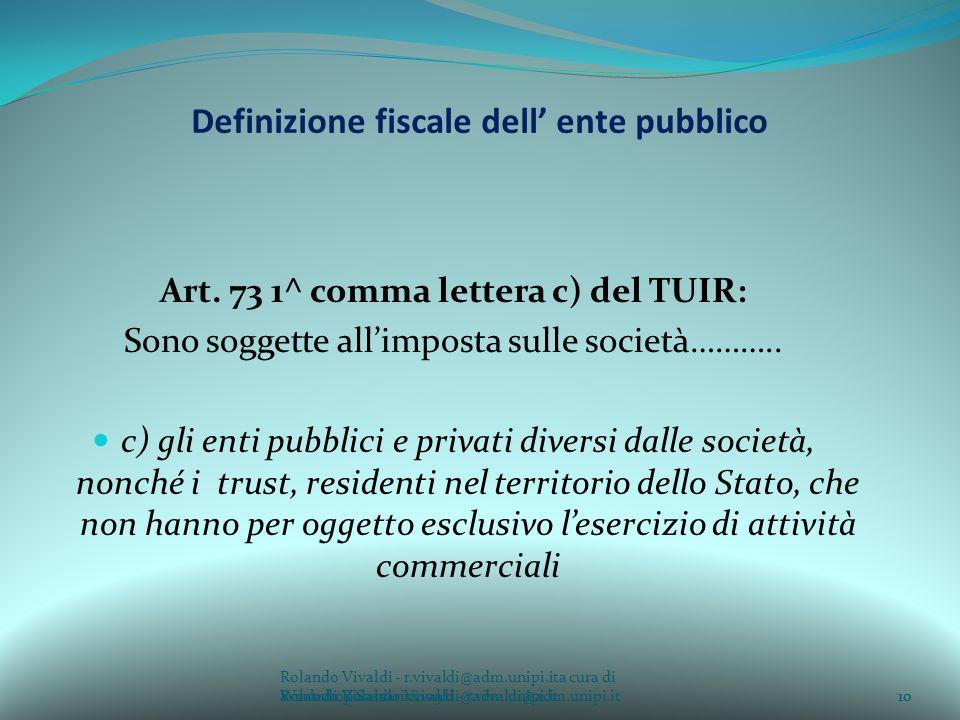 Definizione fiscale dell' ente pubblico
