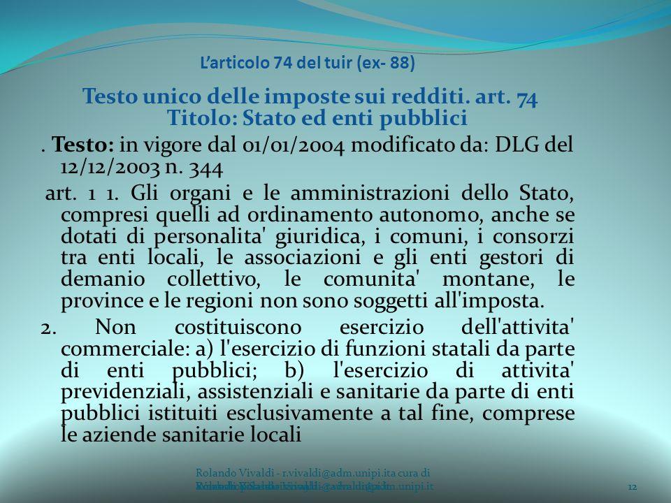 L'articolo 74 del tuir (ex- 88)