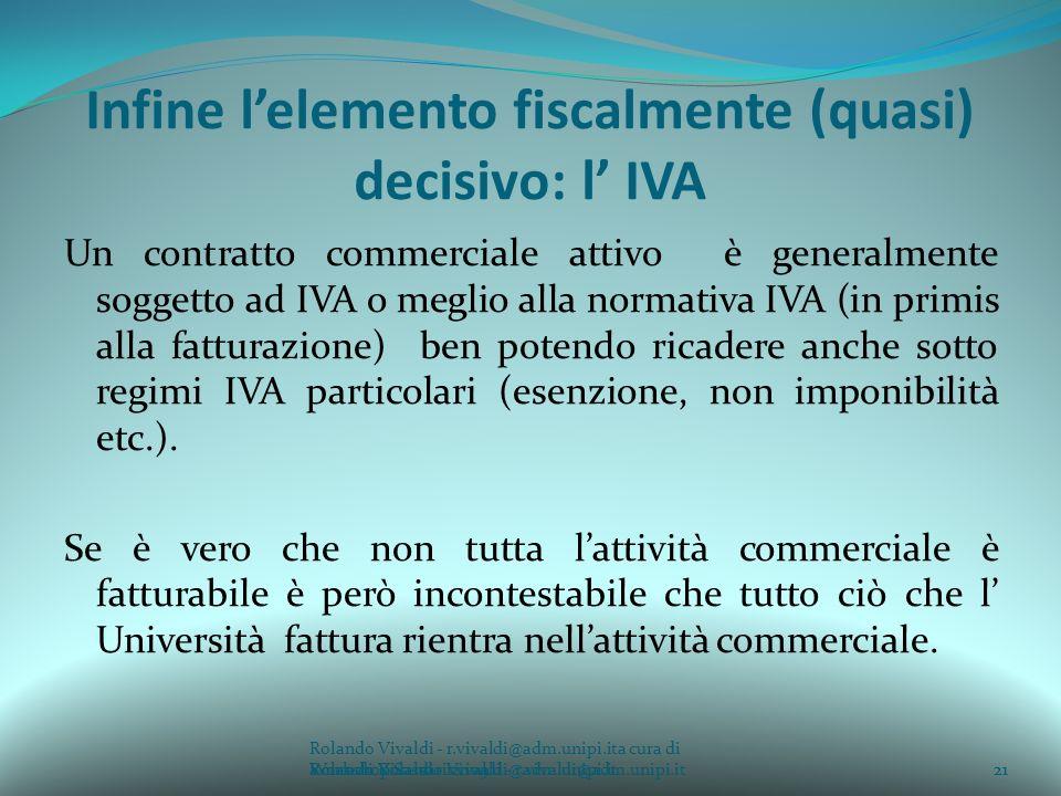 Infine l'elemento fiscalmente (quasi) decisivo: l' IVA