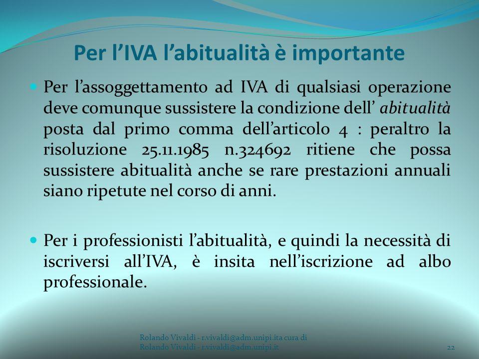 Per l'IVA l'abitualità è importante