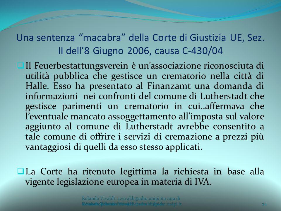 Una sentenza macabra della Corte di Giustizia UE, Sez