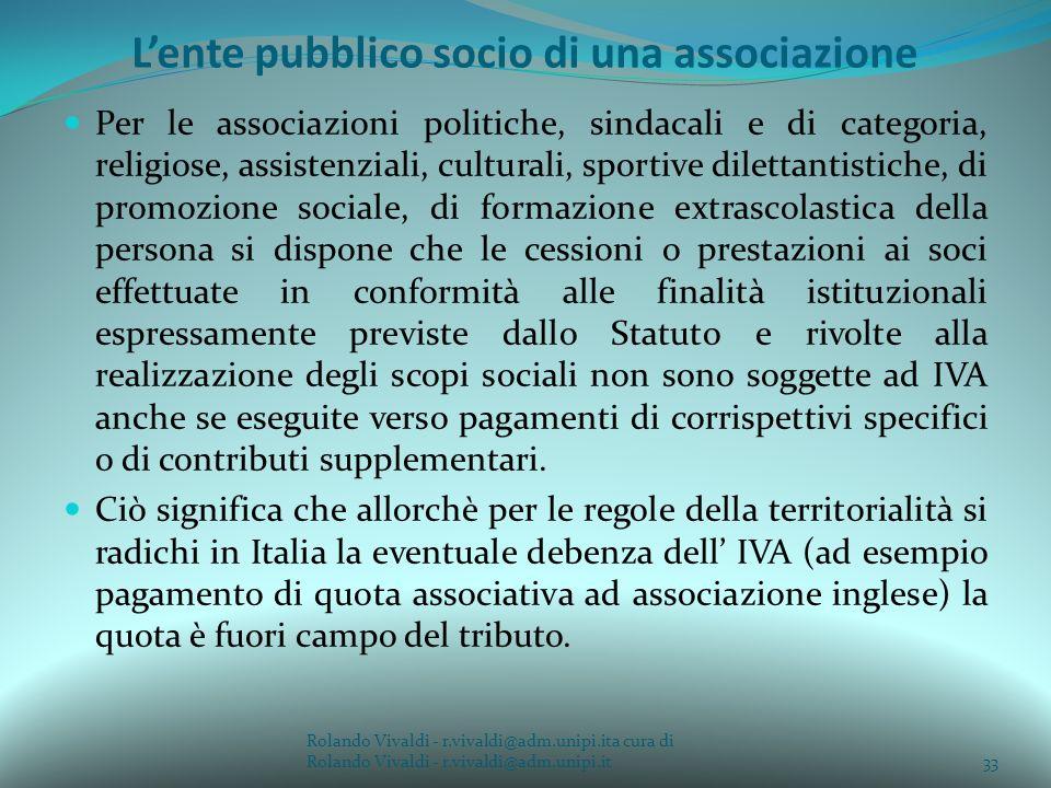 L'ente pubblico socio di una associazione