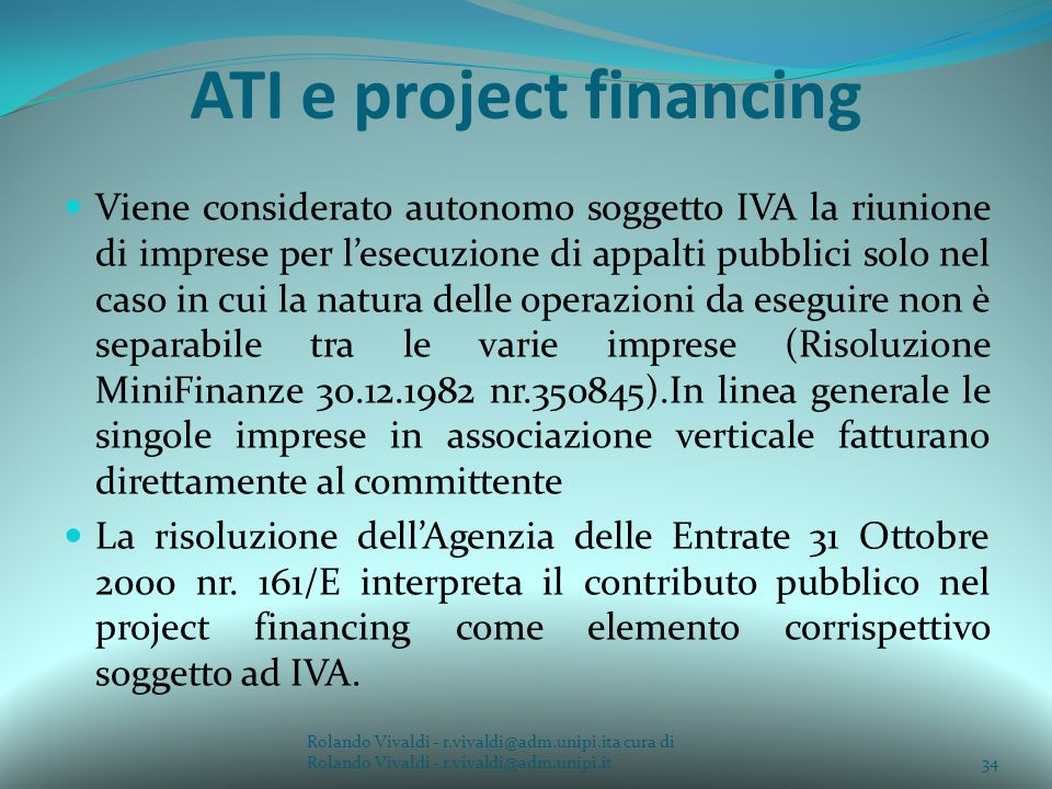 ATI e project financing