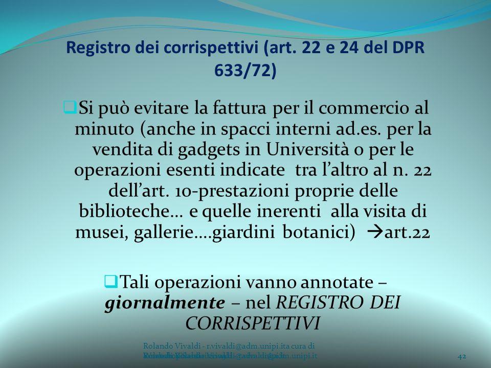 Registro dei corrispettivi (art. 22 e 24 del DPR 633/72)