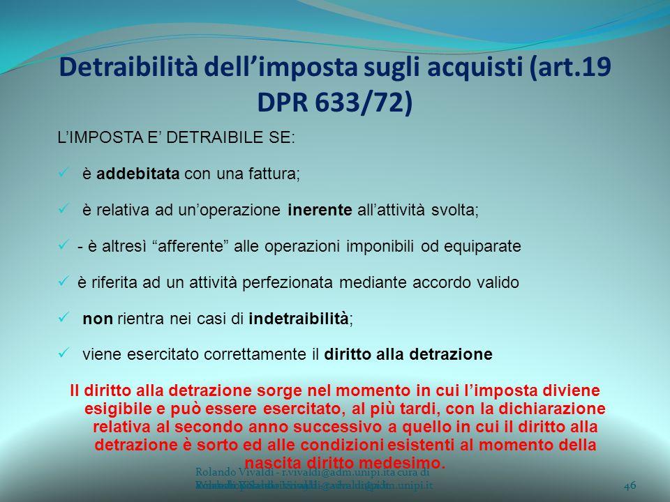 Detraibilità dell'imposta sugli acquisti (art.19 DPR 633/72)