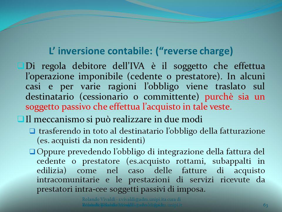 L' inversione contabile: ( reverse charge)