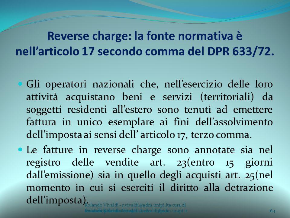 Reverse charge: la fonte normativa è nell'articolo 17 secondo comma del DPR 633/72.