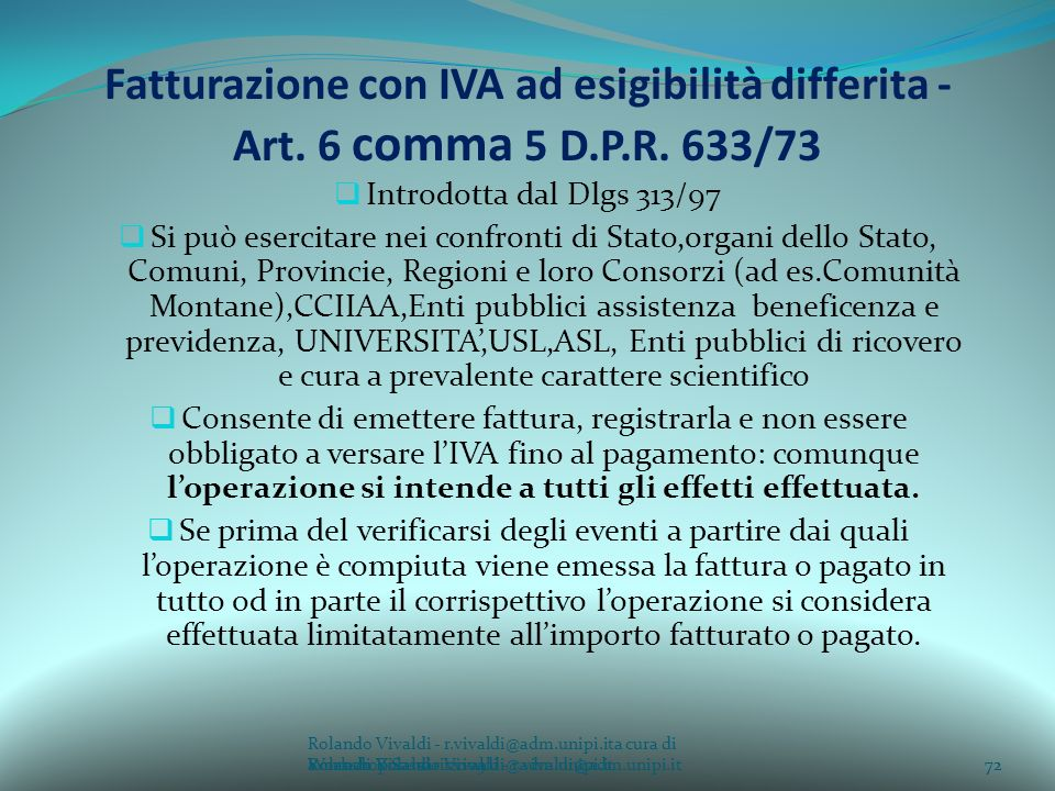 Fatturazione con IVA ad esigibilità differita - Art. 6 comma 5 D. P. R