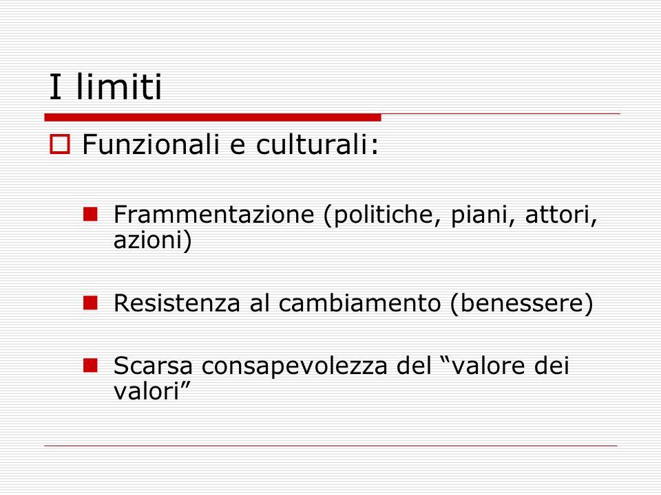 I limiti Funzionali e culturali: