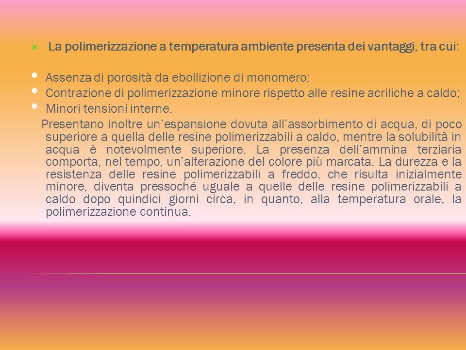 La polimerizzazione a temperatura ambiente presenta dei vantaggi, tra cui: