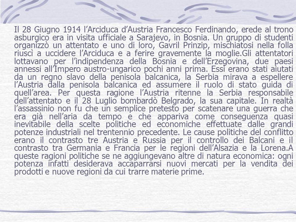 Il 28 Giugno 1914 l'Arciduca d'Austria Francesco Ferdinando, erede al trono asburgico era in visita ufficiale a Sarajevo, in Bosnia.
