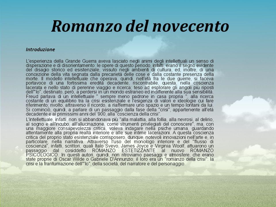 Romanzo del novecento Introduzione