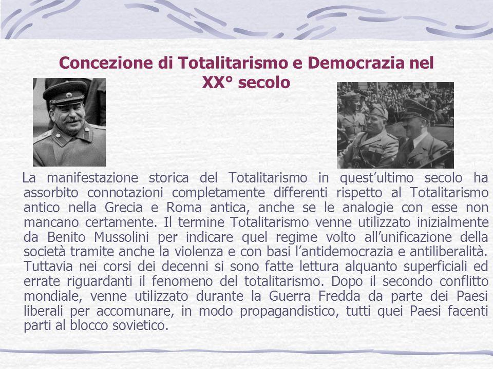 Concezione di Totalitarismo e Democrazia nel XX° secolo