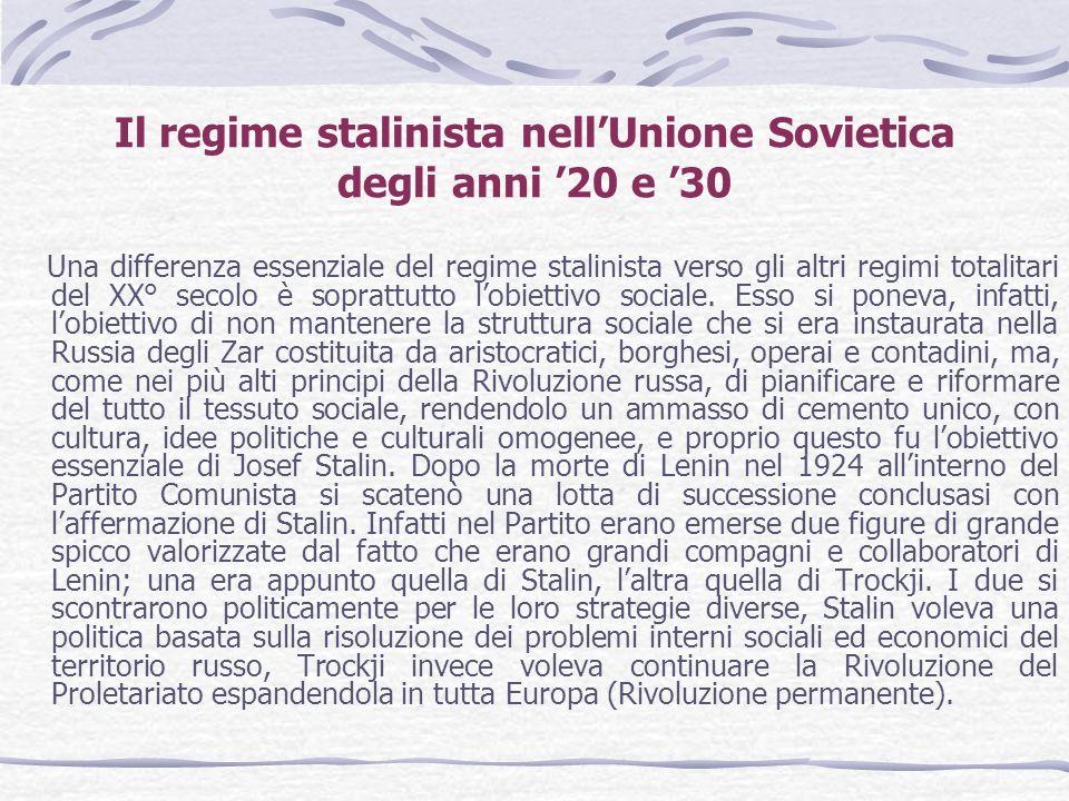 Il regime stalinista nell'Unione Sovietica degli anni '20 e '30