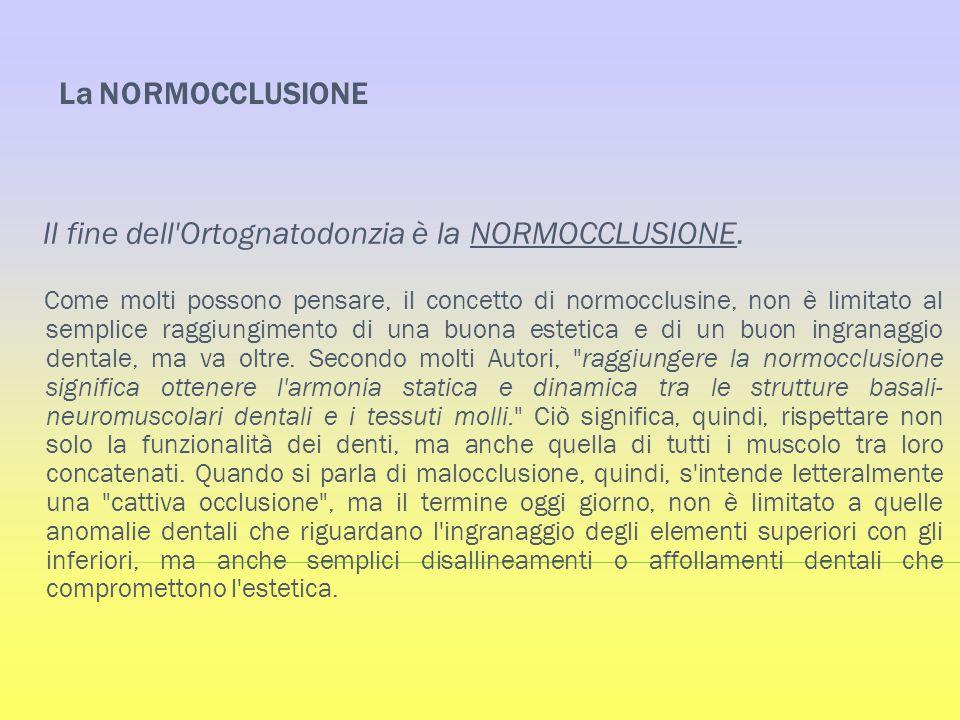 La NORMOCCLUSIONE Il fine dell Ortognatodonzia è la NORMOCCLUSIONE.