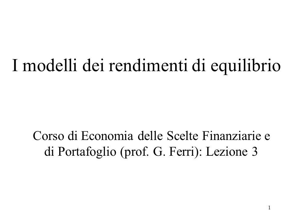 I modelli dei rendimenti di equilibrio
