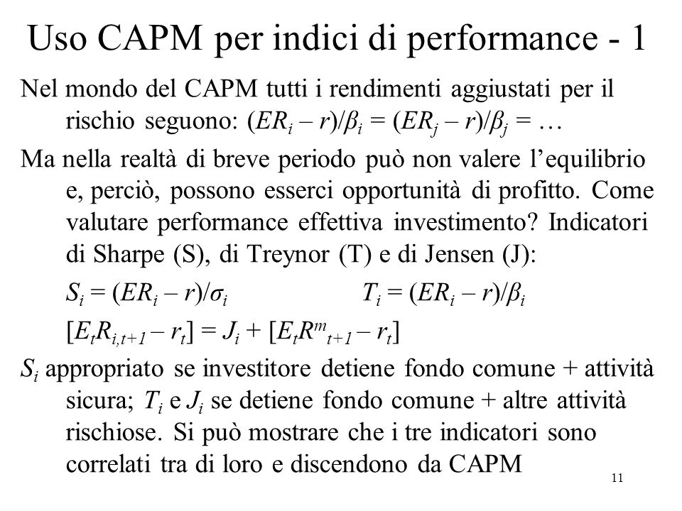Uso CAPM per indici di performance - 1
