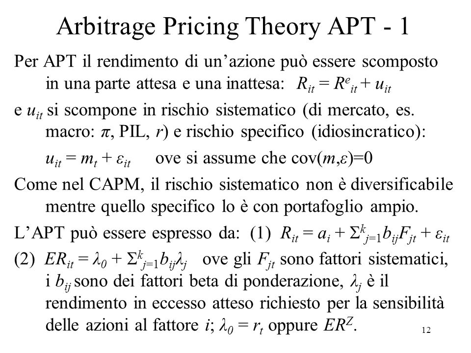 Arbitrage Pricing Theory APT - 1