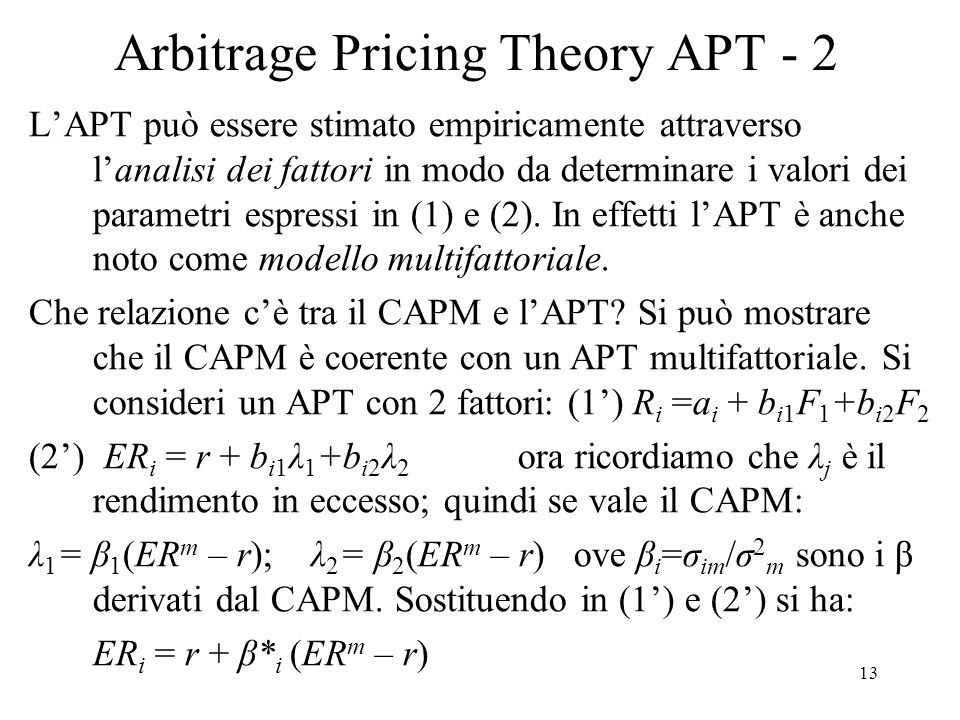 Arbitrage Pricing Theory APT - 2