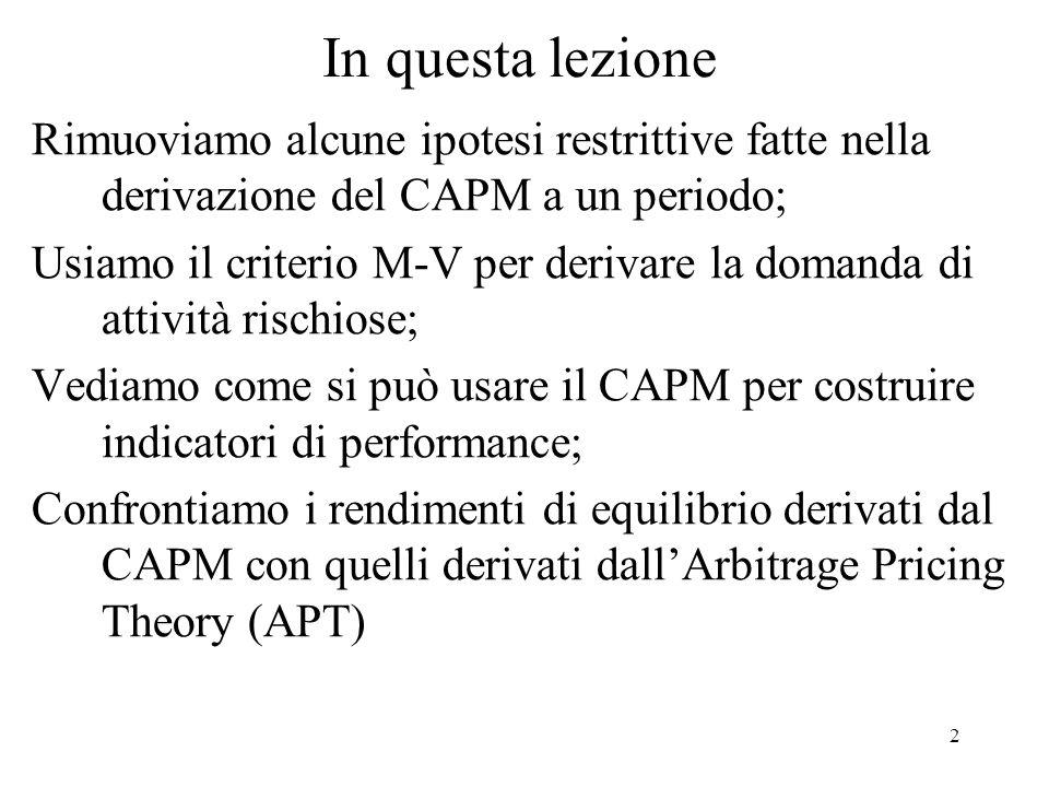 In questa lezioneRimuoviamo alcune ipotesi restrittive fatte nella derivazione del CAPM a un periodo;