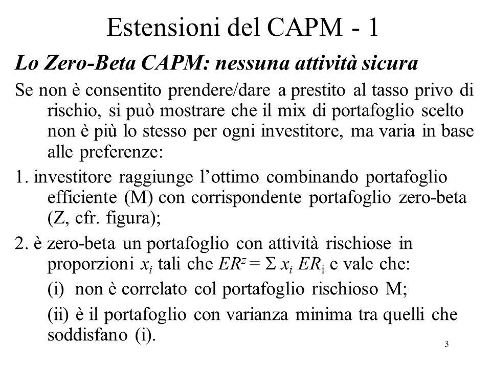 Estensioni del CAPM - 1 Lo Zero-Beta CAPM: nessuna attività sicura