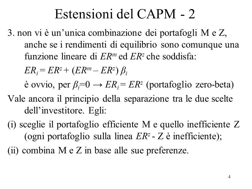 Estensioni del CAPM - 2