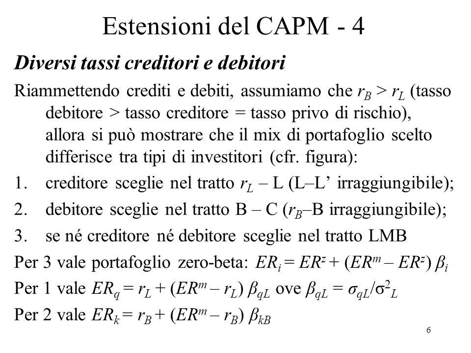 Estensioni del CAPM - 4 Diversi tassi creditori e debitori