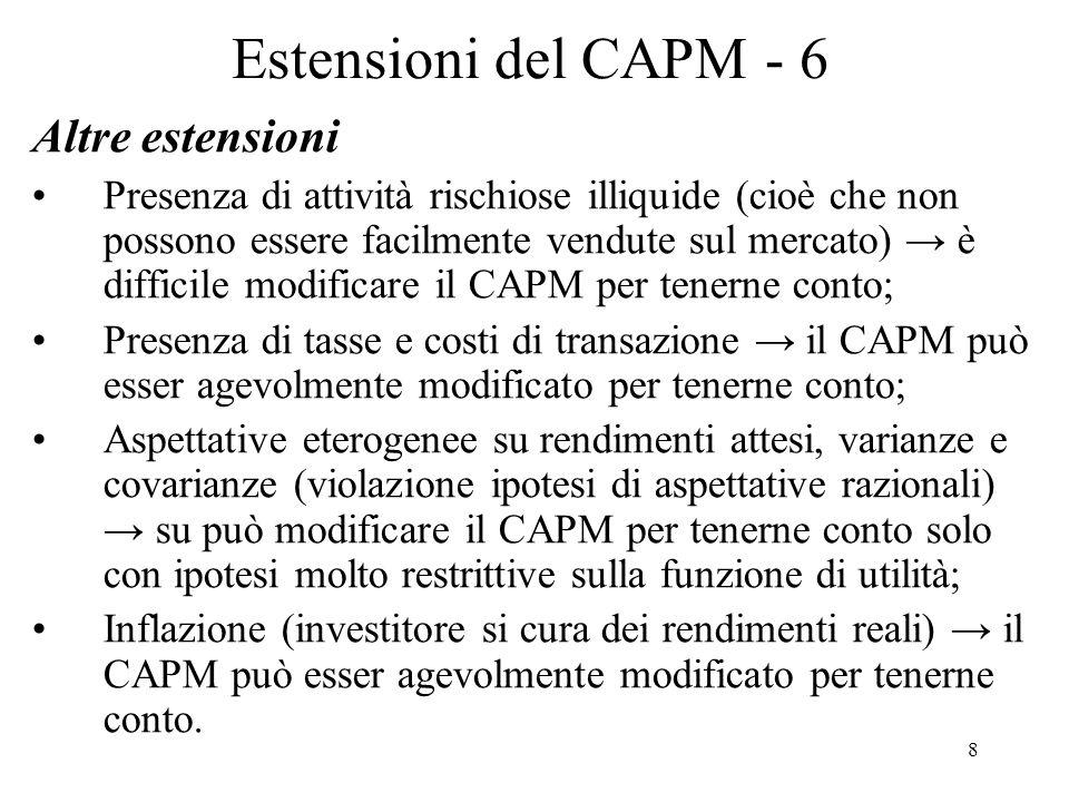 Estensioni del CAPM - 6 Altre estensioni