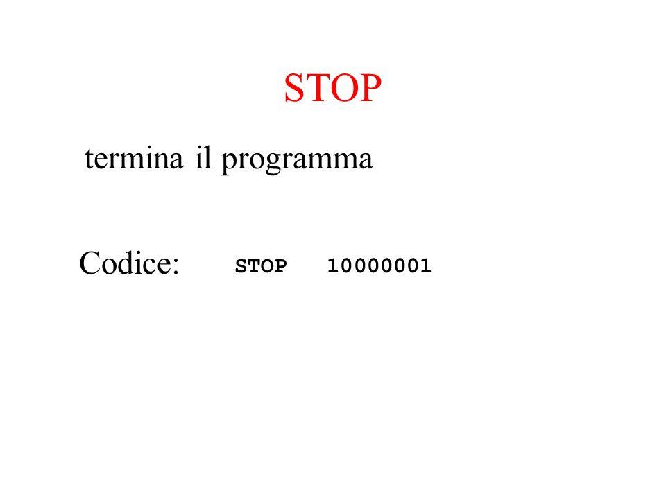 STOP termina il programma Codice: STOP 10000001