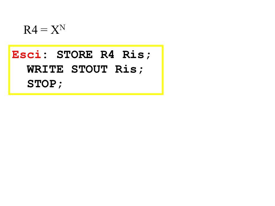 R4 = XN Esci: STORE R4 Ris; WRITE STOUT Ris; STOP;
