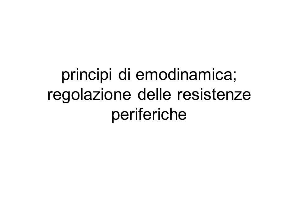 principi di emodinamica; regolazione delle resistenze periferiche