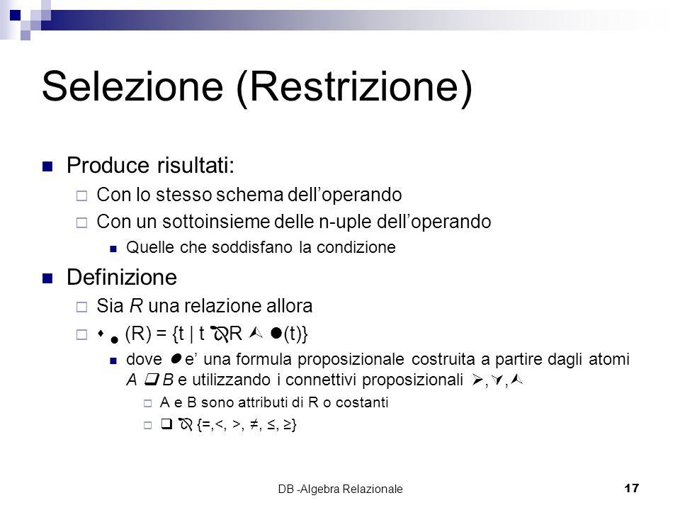Selezione (Restrizione)