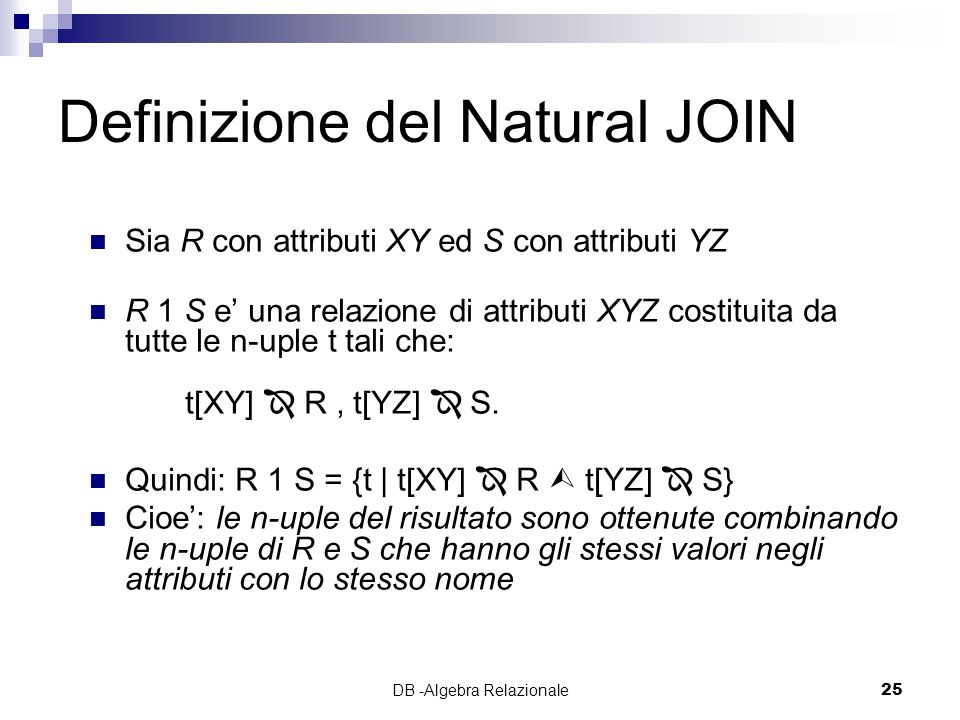 Definizione del Natural JOIN