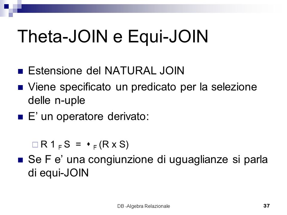 Theta-JOIN e Equi-JOIN