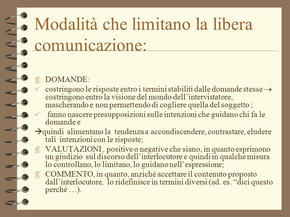 Modalità che limitano la libera comunicazione:
