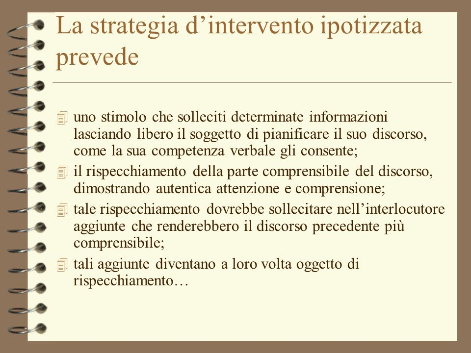 La strategia d'intervento ipotizzata prevede
