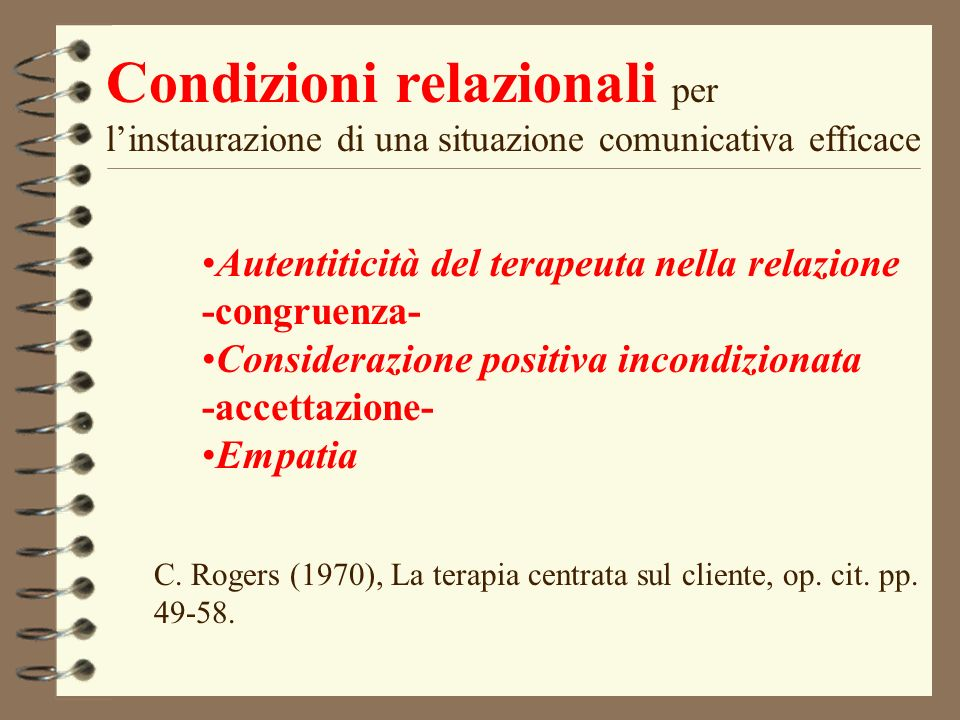 Condizioni relazionali per l'instaurazione di una situazione comunicativa efficace