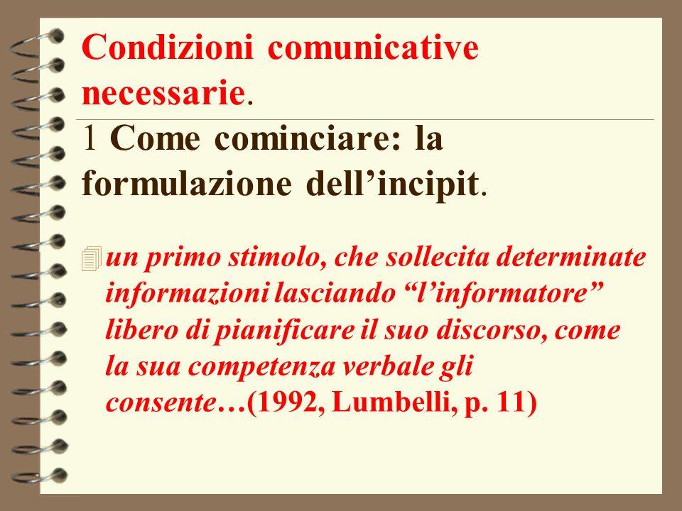 Condizioni comunicative necessarie