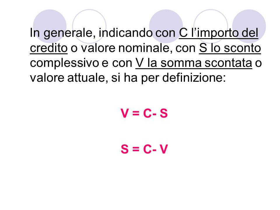 In generale, indicando con C l'importo del credito o valore nominale, con S lo sconto complessivo e con V la somma scontata o valore attuale, si ha per definizione: