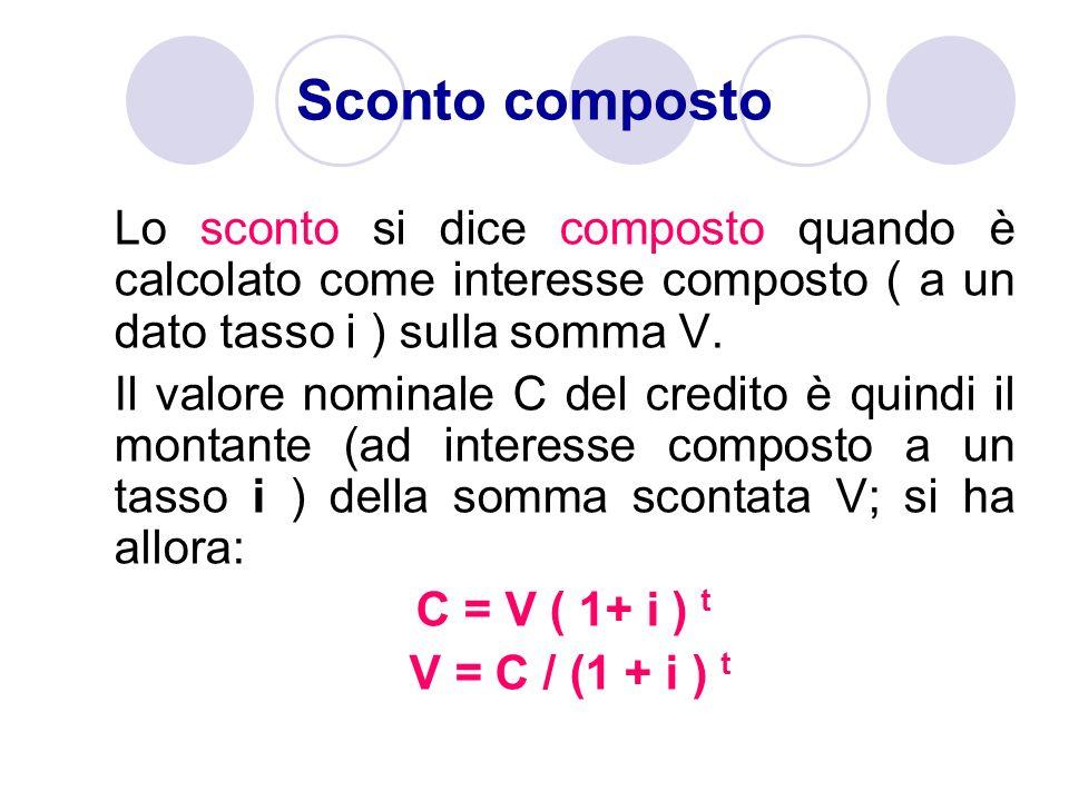 Sconto compostoLo sconto si dice composto quando è calcolato come interesse composto ( a un dato tasso i ) sulla somma V.