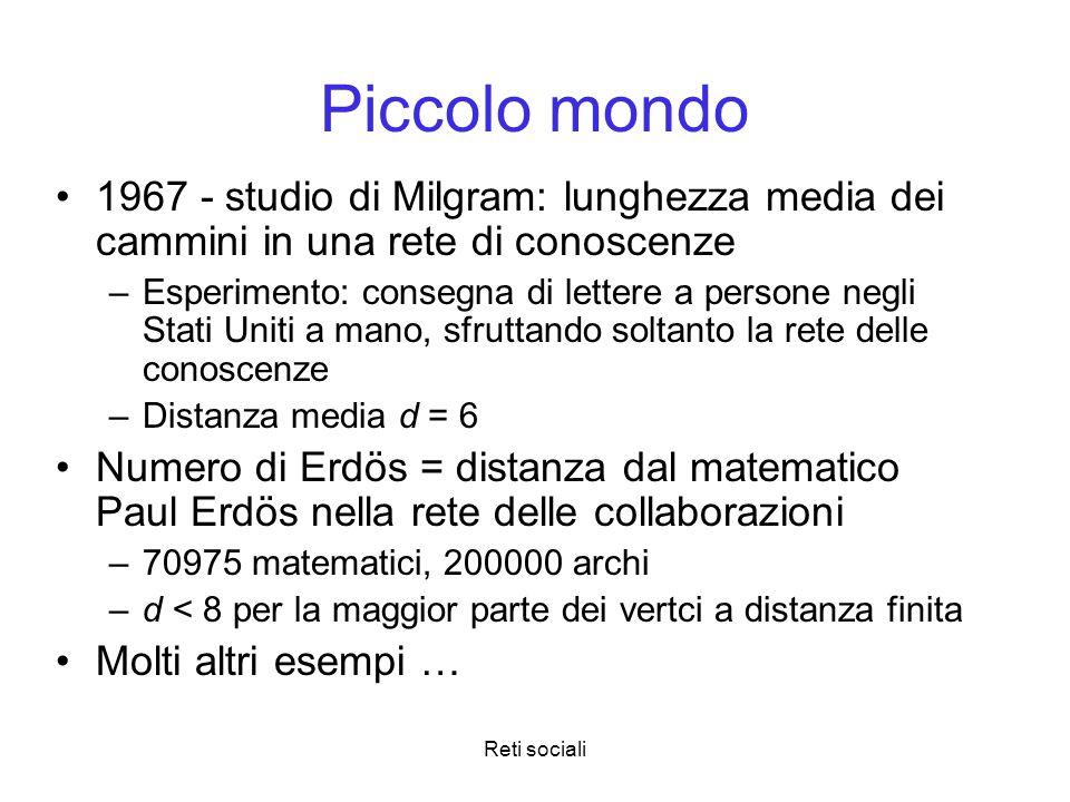 Piccolo mondo 1967 - studio di Milgram: lunghezza media dei cammini in una rete di conoscenze.