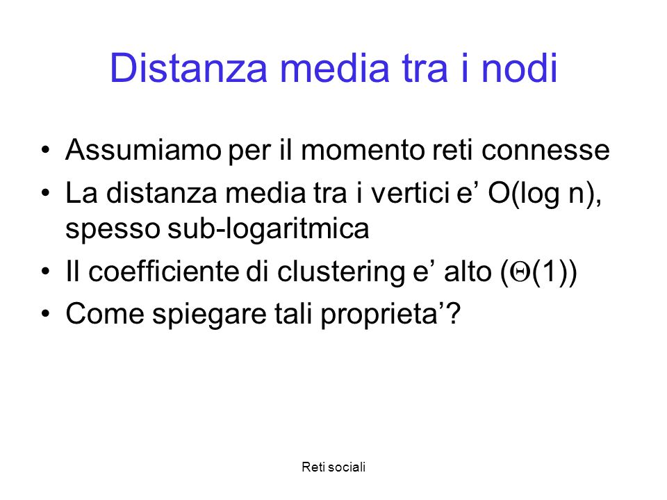 Distanza media tra i nodi