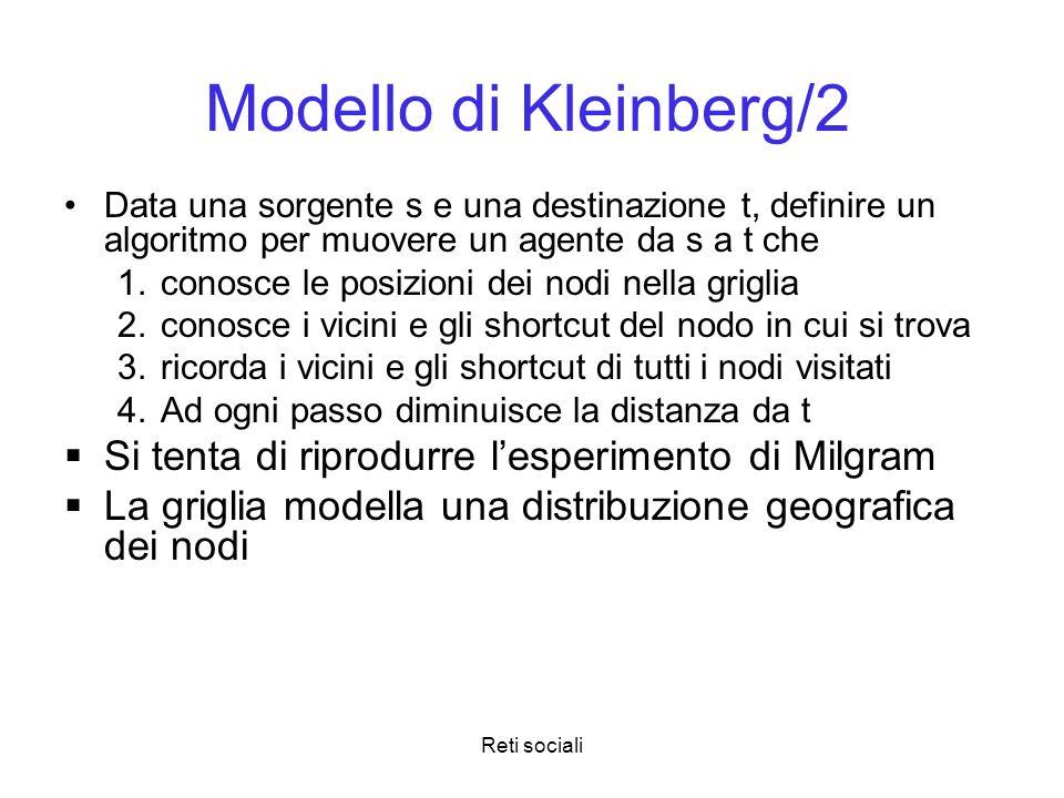 Modello di Kleinberg/2 Si tenta di riprodurre l'esperimento di Milgram