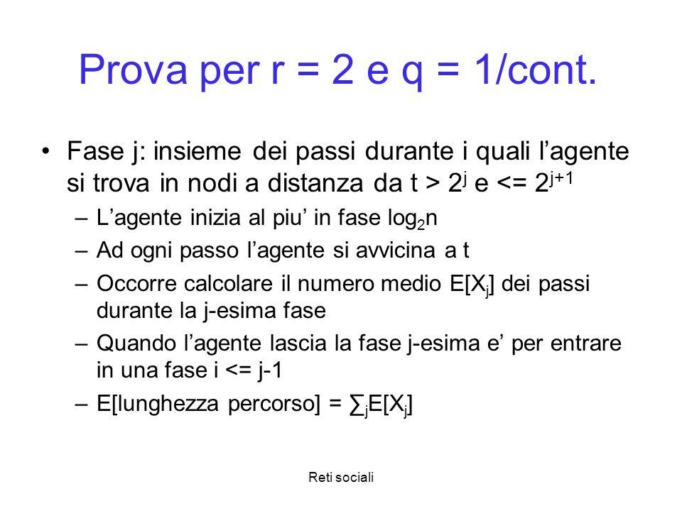 Prova per r = 2 e q = 1/cont. Fase j: insieme dei passi durante i quali l'agente si trova in nodi a distanza da t > 2j e <= 2j+1.